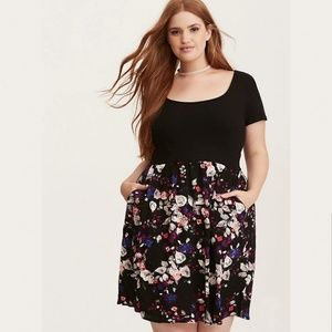 Torrid MultiColor Floral Print Knit To Woven Dress
